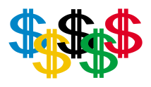 Dollar bills in the style of the Olympic Flag