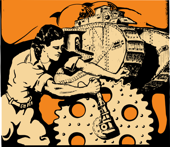 Clipart image of a woman fixing a gear
