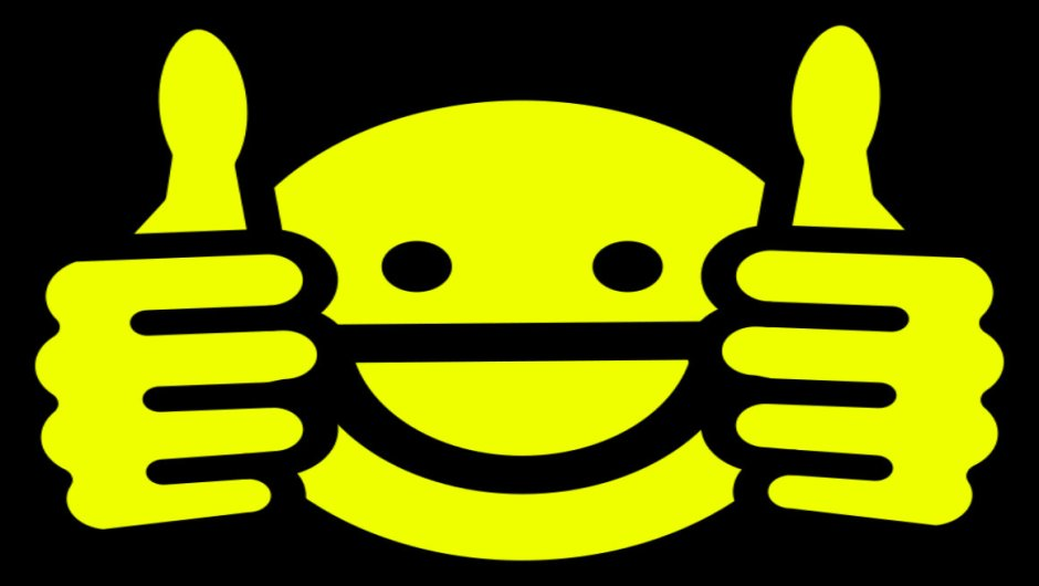 Clip art image of a smiley face giving a thumbs up