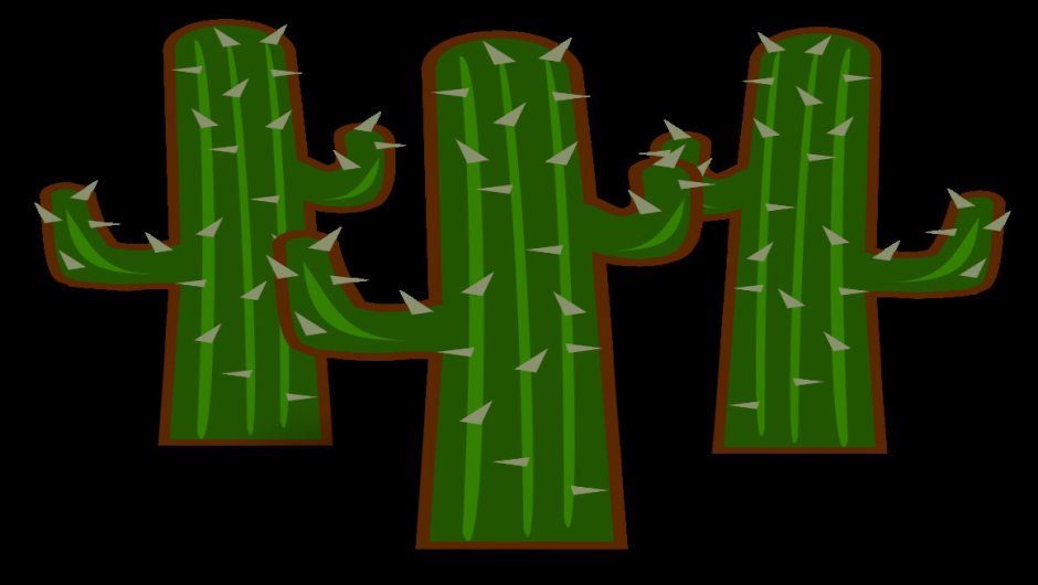 A clipart image of three cactuses