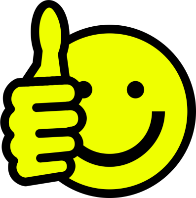 A smiley face holding two thumbs up