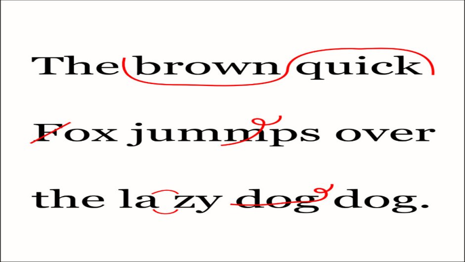 A sentence with proofreading marks throughout.