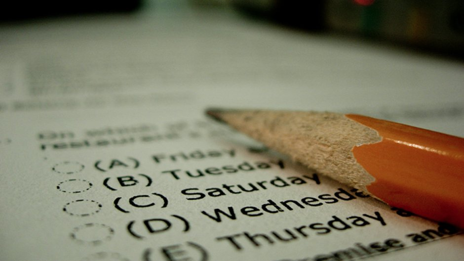 A pencil lying on a standardized test paper.