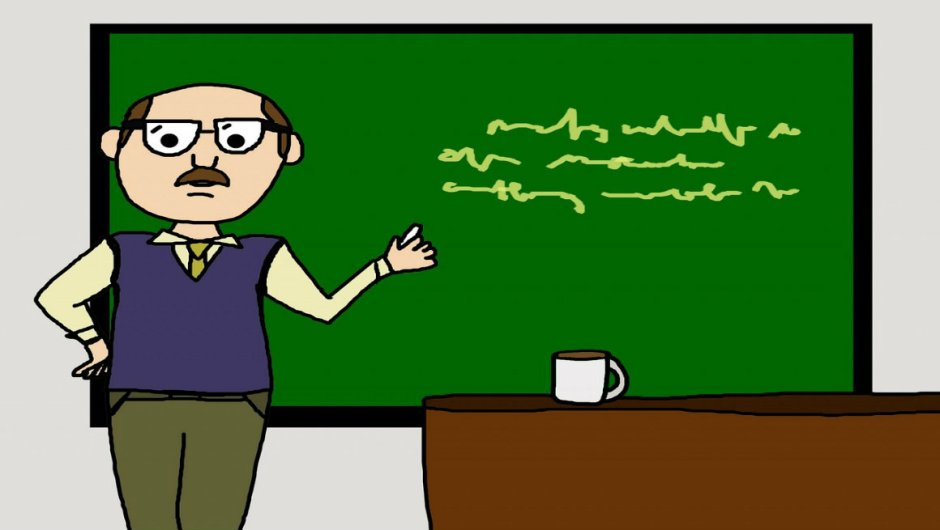 A cartoon image of a male teacher in front of a chalkboard.