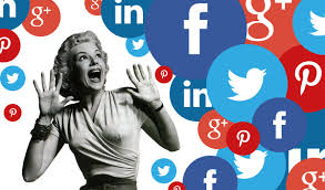 A woman faux yelling while surrounded by social media icons