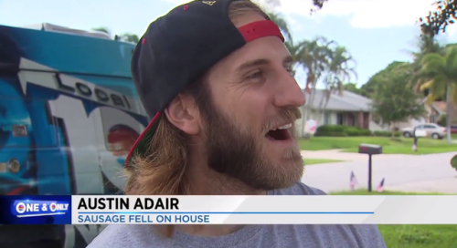 "A screenshot of the local news, showing a man looking at something with the text ""Sausage fell on house."""